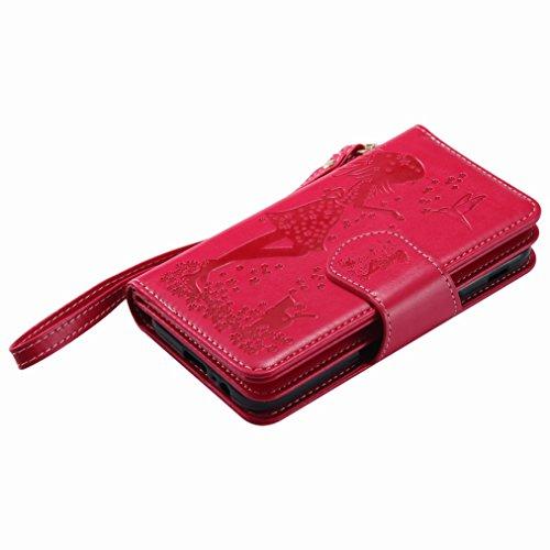 Yiizy Samsung Galaxy A5 (2017) Custodia Cover, Ragazza Goffratura Design Sottile Flip Portafoglio PU Pelle Cuoio Copertura Shell Case Slot Schede Cavalletto Stile Libro Bumper Protettivo Borsa (Rosso)