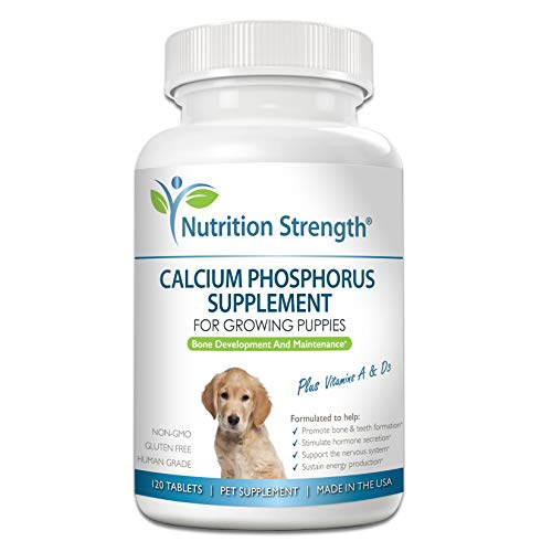Nutrition Strength Calcium Phosphorus for Dogs Supplement, Provide Calcium for Puppies, Promote Healthy Dog Bones and Puppy Growth Rate, Dog Bone Supplement, 120 Chewable Tablets