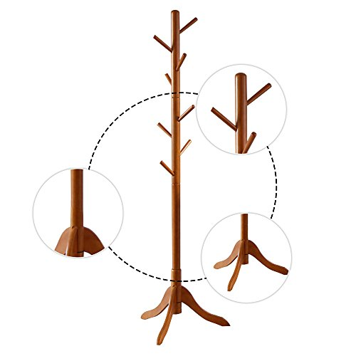 LCH Sturdy Standing Coat Rack Solid Rubber Wood Hall Tree Coat Tree with Tripod Base,8 Hooks(Honey) by LCH (Image #2)