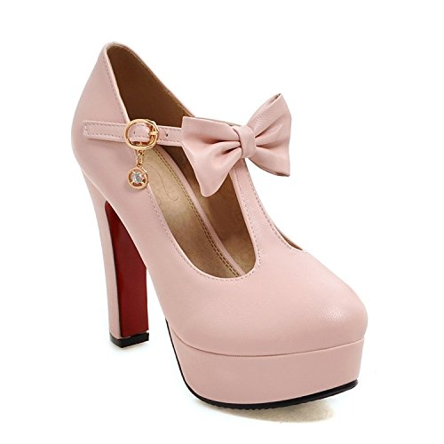 Shoes Fashion 47 Women Stewart Bride Size Pumps Big Sweet Buckle Heel 34 Shoes Wedding Leather Beverly Pink PU Platform High Soft ZTwqF
