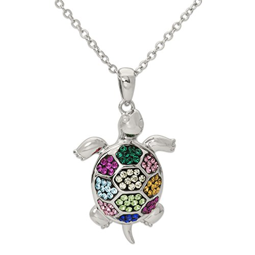 - CRYSTALOGY Women's Jewelry, Sterling Silver Rainbow Crystal Turtle Pendant Necklace, 18