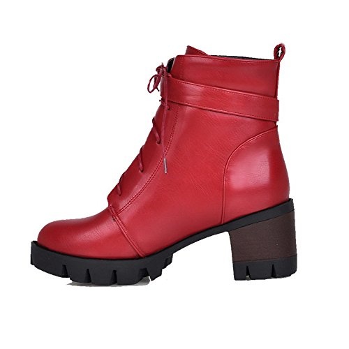 Round Mid Toe Material Soft Top Kitten Closed Lace Women's up Heels Boots Red Allhqfashion UXxHqn