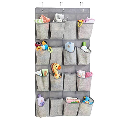 mDesign Soft Fabric Over The Door Hanging Storage Organizer with 16 Deep Pockets for Child/Kids Room, Nursery, Playroom - Metal Hooks Included - Textured Print - Gray Creative Interiors Storage Bed