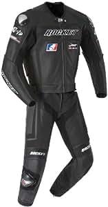 Joe Rocket Speedmaster 5.0 Men's Leather 2-Piece Motorcycle Race Suit (Black/Black, Size 48)