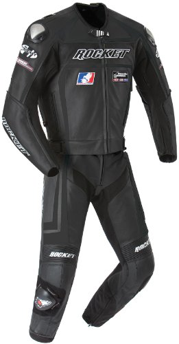 Joe Rocket Speedmaster 5.0 Men's Leather 2-Piece Motorcycle Race Suit (Black/Black, Size (Evolution Race Gloves)