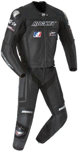 Joe Rocket Speedmaster 5.0 Men's Leather 2-Piece Motorcycle Race Suit (Black/Black, Size 46)
