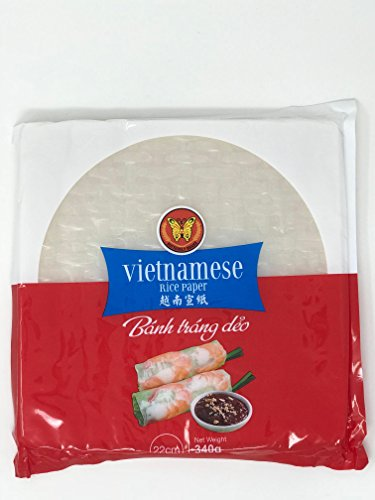 Rice Paper Spring Roll Square Wrappers 22cm Vietnamese Butterfly Brand 12oz Banh Thang Deo ()