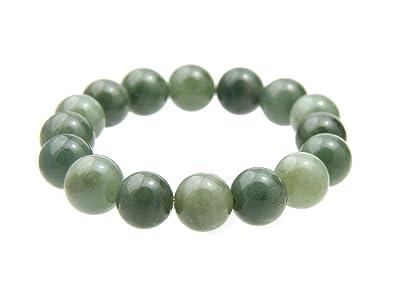 Agathe creation JBA0402014 Bracelet en Jade véritable. Perles de jade  naturelles - Porte bonheur - c3baf78be73c