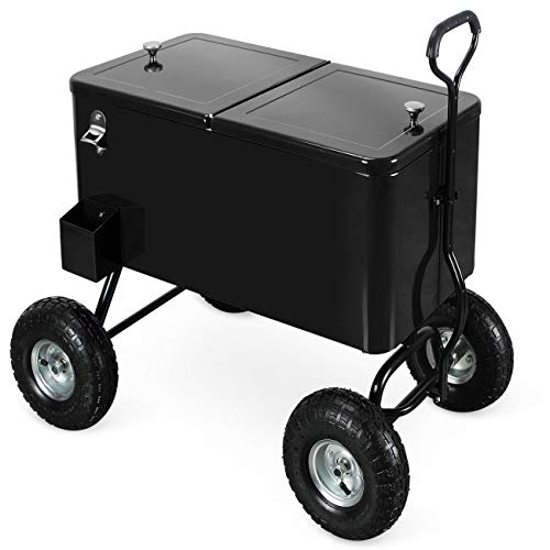 Belleze 80 Qt Party Beach Patio Portable Rolling Ice Chest Drink Cooler Wagon w Built-in Bottle Opener and Catch Tray