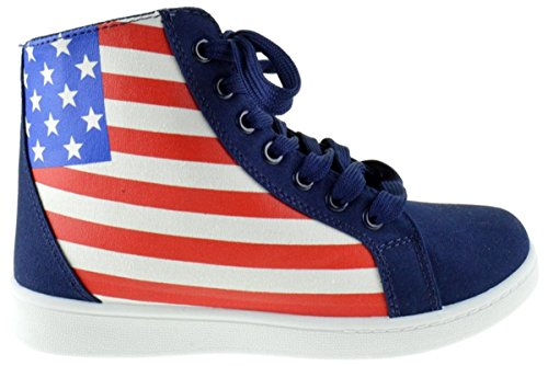 Women Casual Classic Platform Flat Lace-Up Fashion US Flag Sneakers Round Toe Oxford Rubber Sole Boot Shoes American Flag Usa