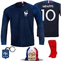 France Soccer Team Pogba Griezmann Mbappe Kid Youth Replica Jersey Kit : Shirt, Short, Socks, Bag, Key, Please Check Size Chart