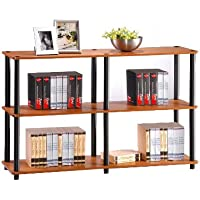 Furinno 99130LC/BK Turn-N-Tube 3-Tier Double Size Storage Display Rack, Light Cherry/Black