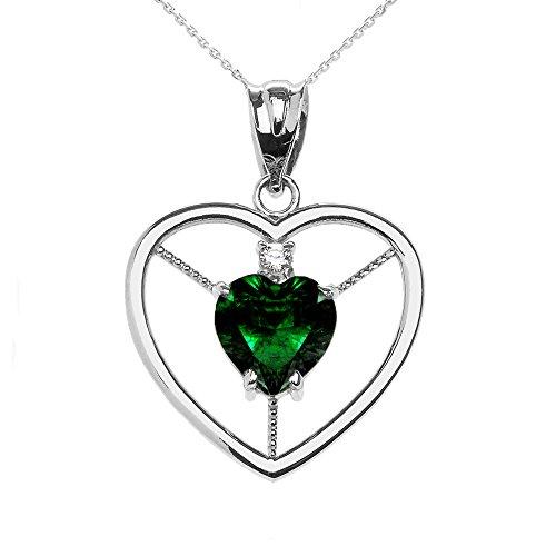 Collier Femme Pendentif Élégant 10 Ct Or Blanc Diamant et Mai Pierre De Naissance Vert Oxyde De Zirconium Cœur Solitaire (Livré avec une 45cm Chaîne)