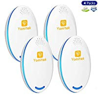 Yomitek 4-Pack Pest Control Ultrasonic Repeller Mosquitoes, Insects, Spiders, Mice,Rats,Roaches, Bugs, Flies More Home Indoor - Non-Toxic Eco-Friendly, Human & Pet Safe