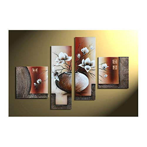 Wieco Art 4-Piece Elegant Flowers Stretched and Framed Hand-Painted Modern Canvas Wall ()