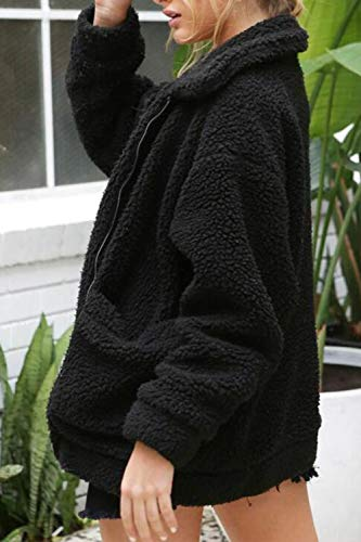 Cerniera Morbido Nimpansa Black Outwear Giacche Lana Faux Invernali Cappotto Le Sfumato SPIxY
