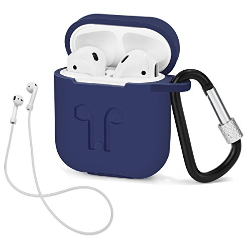 LIKDAY AirPods Case with Strap Protective Silicone Cover with Carabiner for Apple Airpods Accessories ( Midnight Blue )