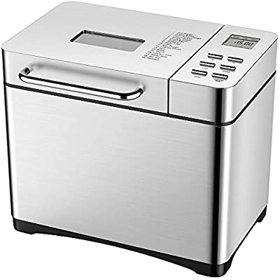 KBS Automatic Bread Machine, 2LB Stainless Steel Bread Maker with Fruit Nut Dispenser, Non-stick Ceramic Pan, 19 Programs, 3 Loaf Sizes, 3 Crust Colors, 15 Hours Delay and 1 Hour Keep Warm