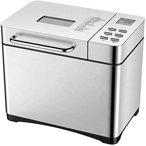 KBS Automatic Bread Maker, 2LB Stainless Steel Bread Machine with Auto Fruit Nut Dispenser, 19 Multifunctional Programs, Unique Ceramic Pan, 3 Loaf Sizes, 3 Crust Colors, 15 Hours Delay, FDA Certified