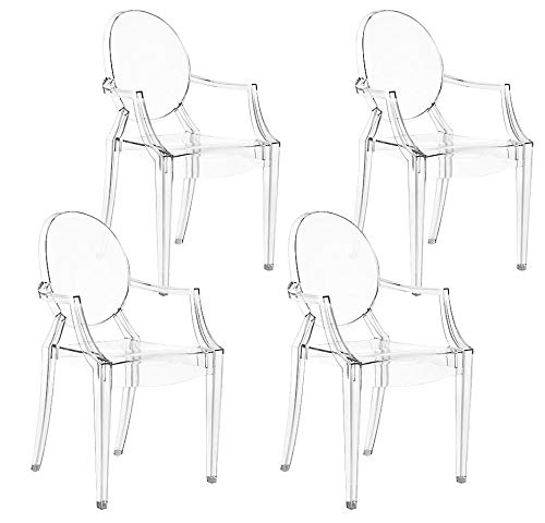 Magshion Set of 4 Modern Ghost Dining Side Chair with Arms in Transparent Crystal Clear ()