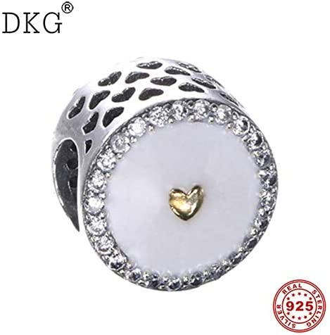 Calvas 925 Sterling Silver Bead White Enamel Precious Heart Limited Edition Openwork Heart Charm Beads Fit DKG Bracelet DIY Jewelry