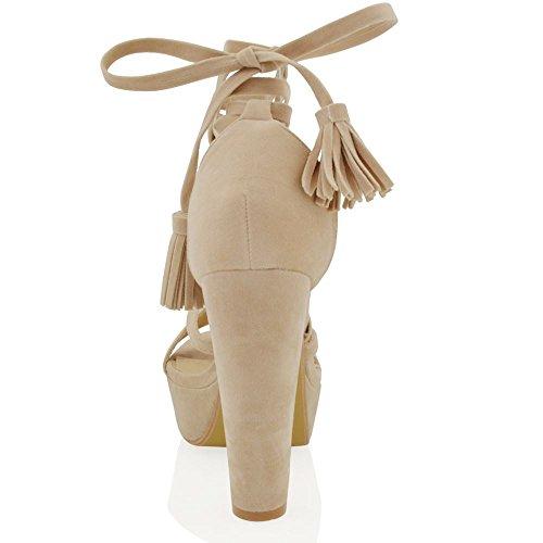 ESSEX GLAM Gamuza Sintética Sandalias de antelina con tacón alto cuadrado y plataforma Desnudo Gamuza Sintética