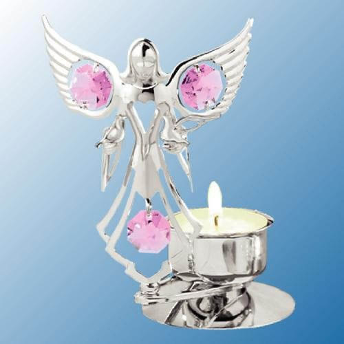 Chrome Plated Angel Holding Doves Tea-Light..... With Pink Swarovski Austrian Crystal
