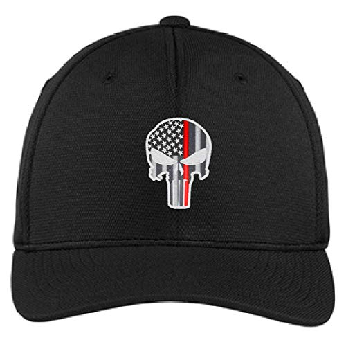Embroidered Thin RED Line Skull Subdued American Flag Firefighter Flexfit Flex Fit Baseball Hat (S/M, Black)