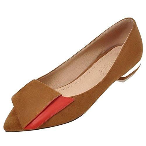 SJJH Court Shoes with Low Heel and Pointed Toe Casual Flat Shoes for Fashion Women Brown