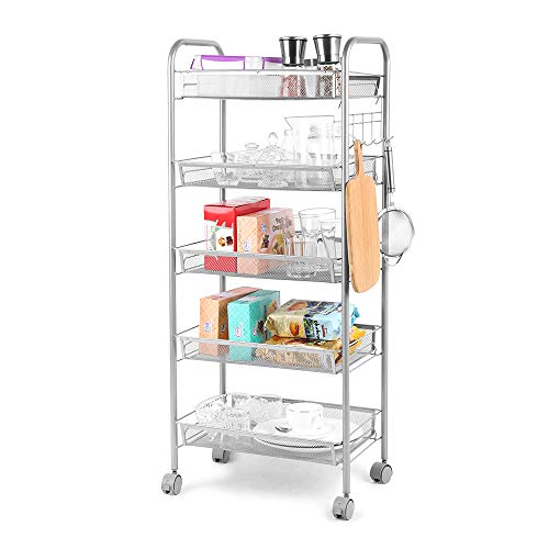Metal Mesh Shelves, Utility Rolling Cart Trolley with Lockable Wheels, Storage Organizer Easy Moving Cart Shelving Units for Kitchen Bathroom Office (17.32