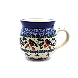 Polish Pottery Mug – 15 Oz. Bubble – Red Robin