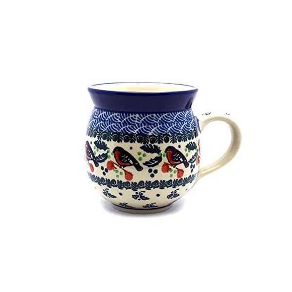 Polish Pottery Mug – 15 Oz. Bubble – Red Robin