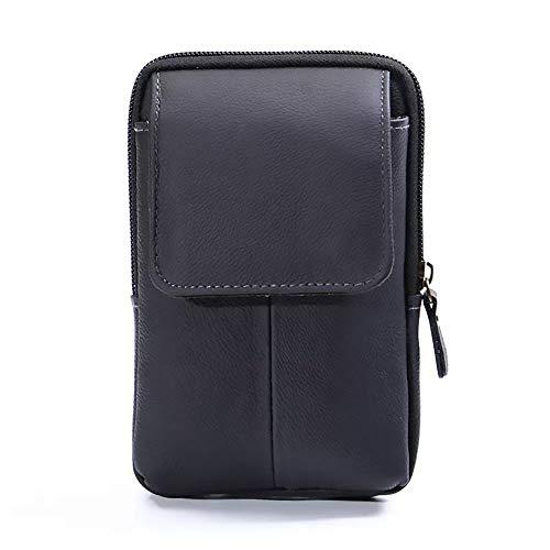 Men's Belt Pouch Waist Fanny Packs Leather Purse Cellphone Holster Belt Waist Bag Pack for Phone and Money iPhone 7 Plus 6 Plus 8 Plus X Max Galaxy S8 S9 Plus S7 S6 Edge (Vertical-Black)