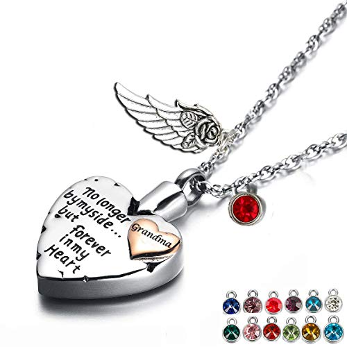 Heart Cremation Urn Necklace for Ashes Angel Wing Jewelry Memorial Pendant and 12 PCS Birthstones No Longer by My Side But Forever in My Heart ()