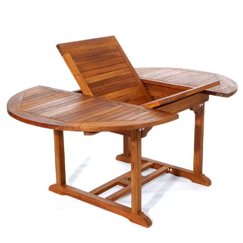 All Things Cedar TE70 Teak Patio Oval Extension Table with Foldable Butterfly Leaf, 6' -
