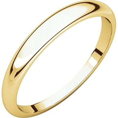 10K Yellow Gold Half Round Tapered Band, Size: -