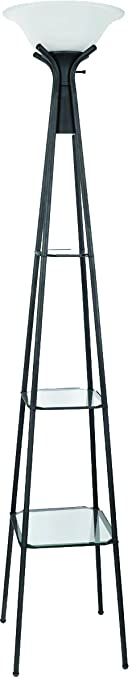 Coaster Home Furnishings 901420 Floor Lamp With Glass Shelves, Black