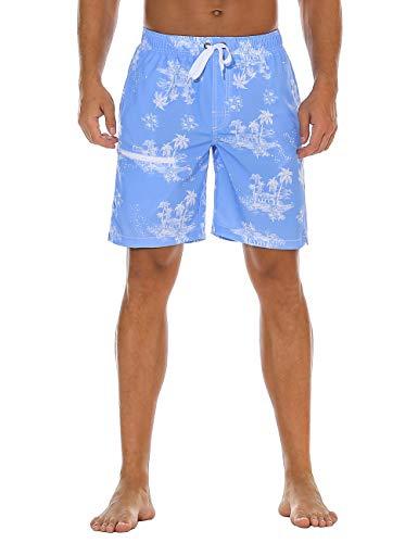 8065a10722664 Nonwe Men's Board Swim Shorts Quick Dry Zipper Printed Beach Party Shorts  Drawsting Blue 30