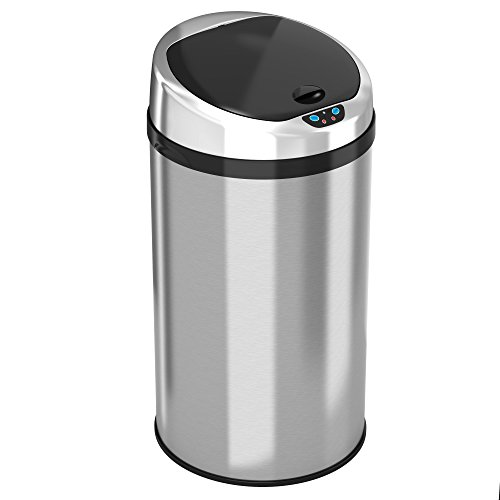 iTouchless Automatic Touchless Sensor Kitchen Trash Can - Stainless Steel – 8 Gallon / 30.3 Liter – Round Shape – Odor Control System