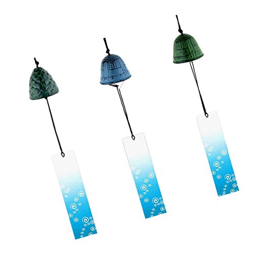 Flameer 3X Temple Bell Japanese Wind Chime Hang Sound Clapper Home Garden Decor
