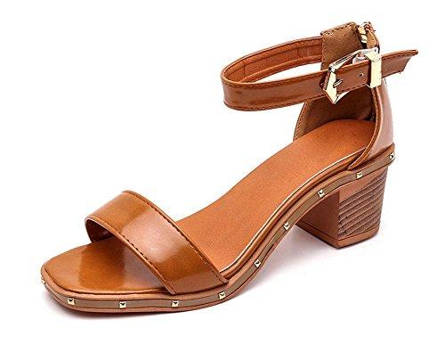 Zapatos Verano Perla Brown Hebilla Alto La Sandalias Palabra Salvajes Gruesos Tacón Mujeres De Las Pescado Con Dark Cabeza 466rxw