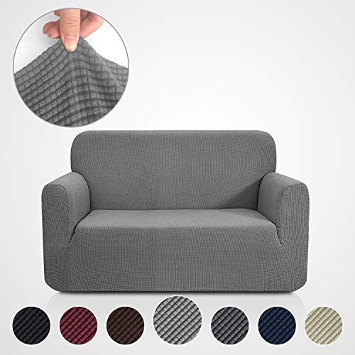 Rose Home Fashion RHF Jacquard-Stretch Sofa Cover, Slipcover for Leather Couch-Polyester Spandex Sofa Slipcover&Couch Cover for Dogs, 1-Piece Sofa Protector(Loveseat: Gray) ()
