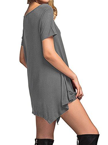 Dress Sleeve Star Simple T Knee Short Flowy Soft Girls Plain Loose Century Shirt Dress Dress grey Swing Length Thin Women's FdvqBfU