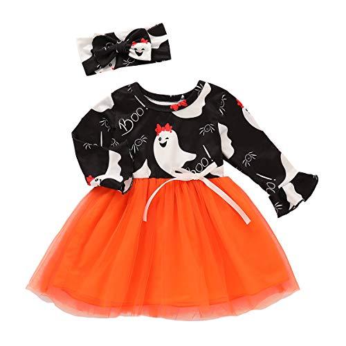 BELS Baby Girls Halloween Dress Set Ghost Shirt Tutu Dress + Headband Outfit(Black,3-4 Years]()