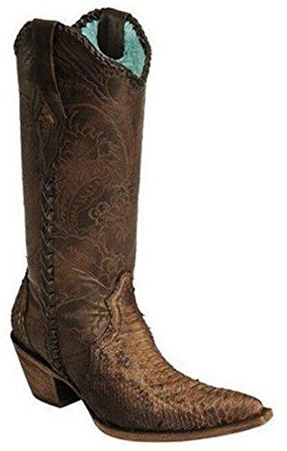 Corral Dames Python Gegraveerd Veter Tube Western Boots Geschuurd Antiek Zadel
