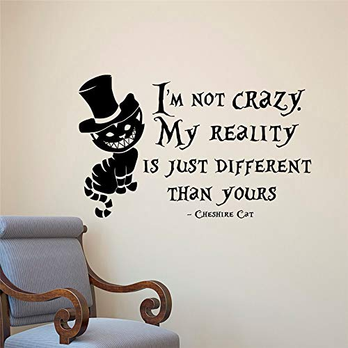 Jisuri Mural Saying Wall Decal Sticker Art Mural Home Decor Quote Alice in Wonderland Wall Sticker Cheshire Cat Quote Vinyl Decal Room Wall Art Deco Home Decor Kids ()