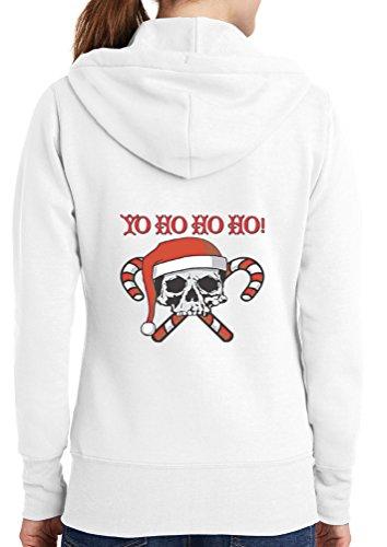 Womens Candy Cane Skull Full Zip Hoodie, White, 4X