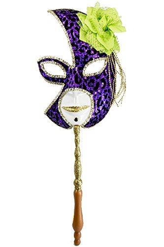 Renaissance 2000 77002 Sequin Mask with Holding Stick, Purple/Gold
