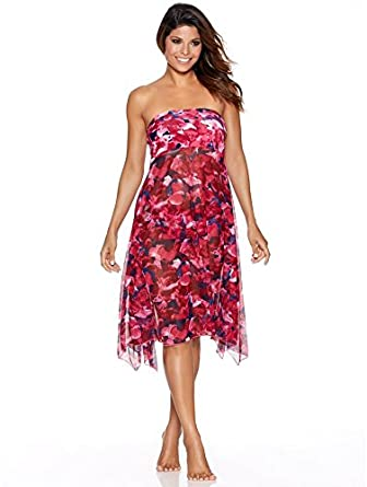 160f573847 M&Co Ladies Sleek Strapless Rose Floral Print Mesh Sheer Beach Dress Maxi  Skirt Fuchsia L/Xl: Amazon.co.uk: Clothing
