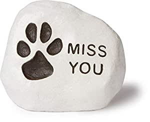 """""""Miss You"""" - (Paw Print) Engraved in a Heavy little Rock"""